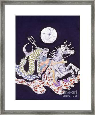 Poseidon Rides The Sea On A Moonlight Night Framed Print by Carol  Law Conklin