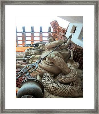 Poseidon Statue Framed Print by Alan Espasandin