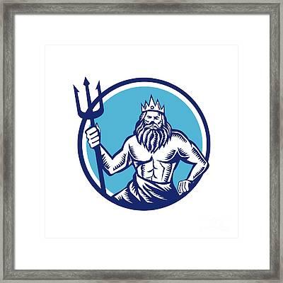 Poseidon Trident Circle Woodcut Framed Print by Aloysius Patrimonio