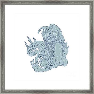 Poseidon Trident Waves Drawing Framed Print by Aloysius Patrimonio
