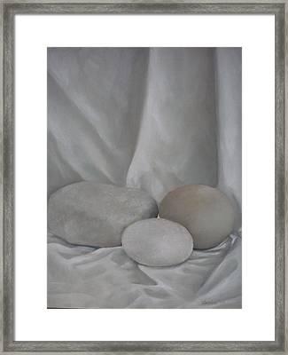 Posing Pebbles Framed Print