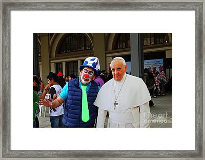 Posing With Pope Francis Framed Print by James Brunker