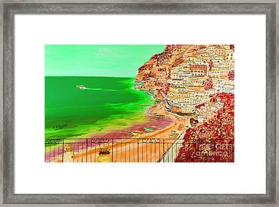 Framed Print featuring the painting Positano Bay by Loredana Messina