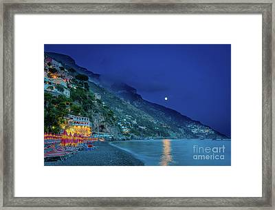 Positano Beach At Night Framed Print by Inge Johnsson