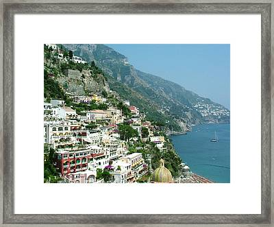 Positano In The Afternoon Framed Print by Donna Corless