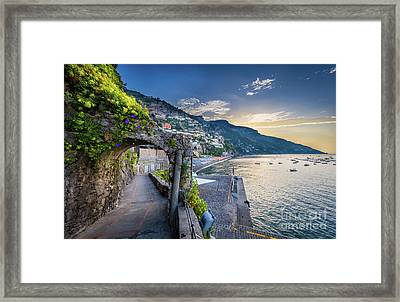 Positano Pathway Framed Print by Inge Johnsson