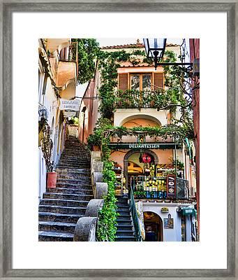 Positano Shopping Framed Print by Jon Berghoff