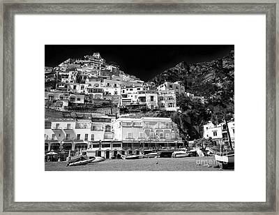 Positano Top View Framed Print by John Rizzuto