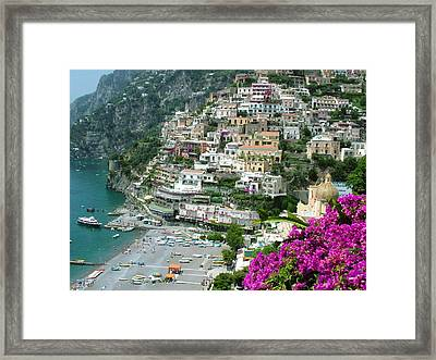 Positano's Beach Framed Print by Donna Corless