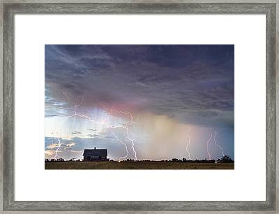 Positive Pink Lightning On The Prairie  Framed Print by James BO  Insogna