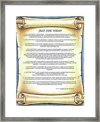 Positive Thinking- Just For Today Framed Print