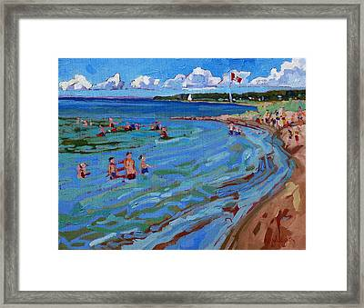Positively Buoyant Beach People Framed Print by Phil Chadwick