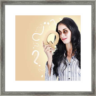 Possessed Businesswoman Holding A Q For Question Framed Print by Jorgo Photography - Wall Art Gallery