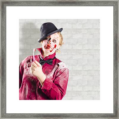 Possessed Girl With Bloody Toothbrush. Gum Disease Framed Print