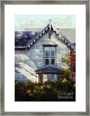 Framed Print featuring the photograph Postage Due - Farmhouse Window by Janine Riley