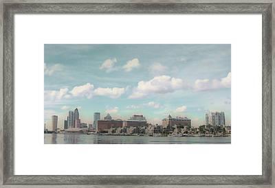 Postcard Look Of Tampa Skyline Framed Print by Rebecca Sauceda