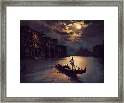 Framed Print featuring the painting Postcards From Venice - The Red Gondola by Douglas MooreZart