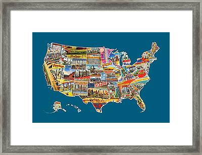 Postcards Of The United States Vintage Usa All 50 States Map Framed Print by Design Turnpike