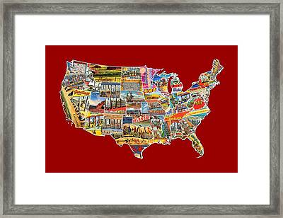 Postcards Of The United States Vintage Usa Lower 48 Map Choose Your Own Background Framed Print by Design Turnpike