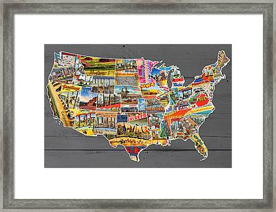 Postcards Of The United States Vintage Usa Lower 48 Map On Gray Wood Background Framed Print by Design Turnpike
