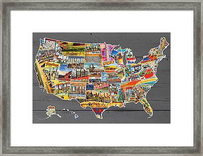 Postcards Of The United States Vintage Usa Map On Gray Wood Background Framed Print by Design Turnpike