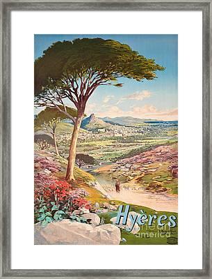 Poster Advertising Hyeres, France, 1900 Framed Print