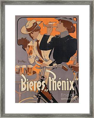 Poster Advertising Phenix Beer Framed Print by Adolf Hohenstein