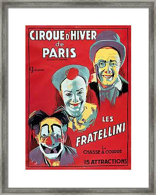 Poster Advertising The Fratellini Clowns Framed Print
