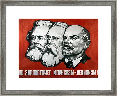 Poster Depicting Karl Marx Friedrich Engels And Lenin Framed Print by Unknown