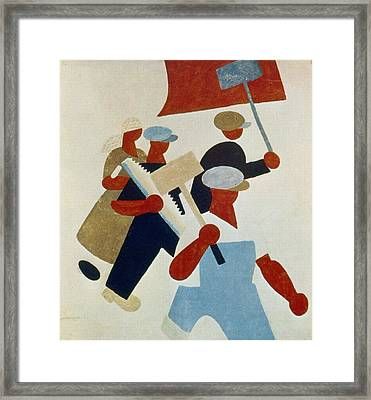 Poster Depicting Marching Protestors During Russian Revolution Framed Print by Photos.com
