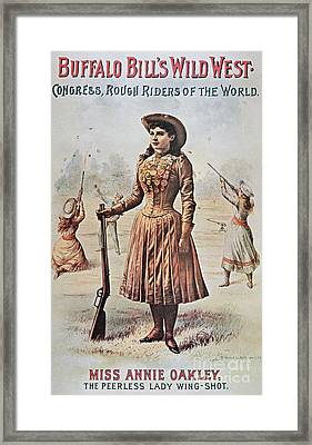 Poster For Buffalo Bill's Wild West Show With Annie Oakley Framed Print by American School
