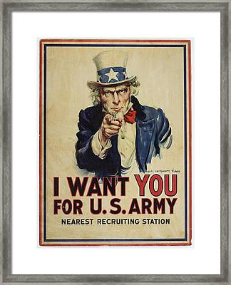 Poster, I Want You, April 1917, United States, By James Montgomery Flagg, United States Government Framed Print