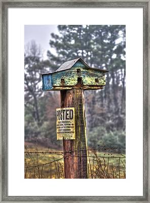 Poster Keep Out Bird House Framed Print by Reid Callaway