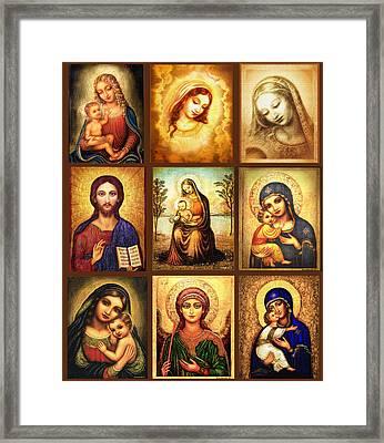 Poster Madonnas 2 Framed Print by Ananda Vdovic