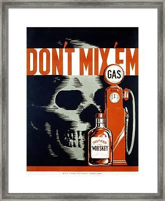 Poster Showing Whiskey Bottle, Gas Framed Print by Everett