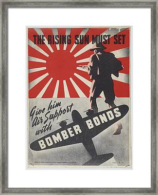 Poster The Rising Sun Must Set 1942 Wellington By New Zealand National Savings Committee. Framed Print