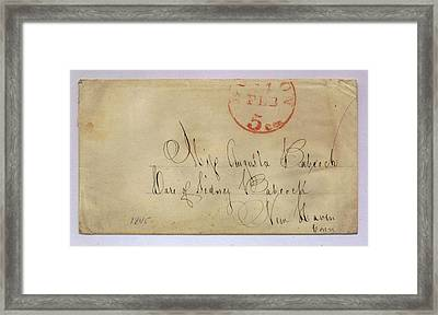Postmarked And Addressed Envelope Framed Print