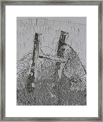 Posts And S Barb Wire Framed Print by Karen Merry