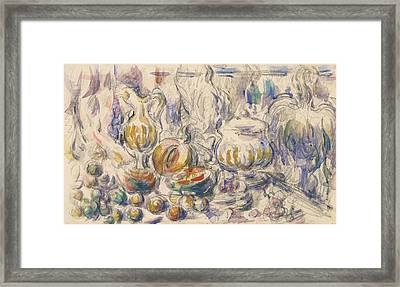 Pot And Soup Tureen  Framed Print by Paul Cezanne