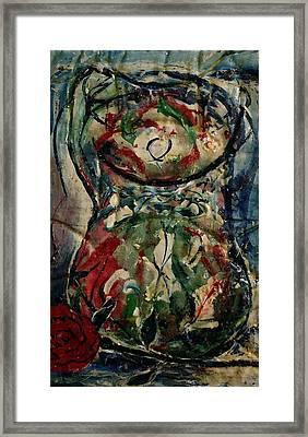 Potpourri Vase With Rose Framed Print