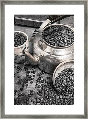 Pot Of Old Coffee Beans Framed Print by Jorgo Photography - Wall Art Gallery