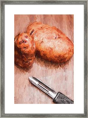 Potatoes And Peeler Cooking Digital Sketch Framed Print by Jorgo Photography - Wall Art Gallery