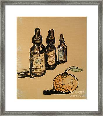 Framed Print featuring the painting Potions by Maria Langgle