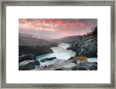 Potomac River At Great Falls Sunrise Landscape Framed Print by Mark VanDyke