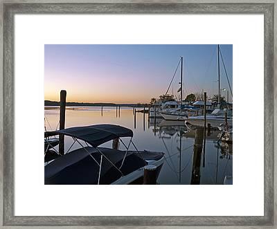 Potomac River At Sunrise Belle Haven Marina Alexandria Virginia Framed Print by Brendan Reals