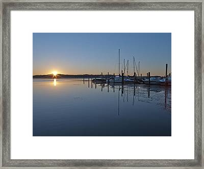 Potomac River Sunrise At Belle Haven Marina Virginia Framed Print by Brendan Reals