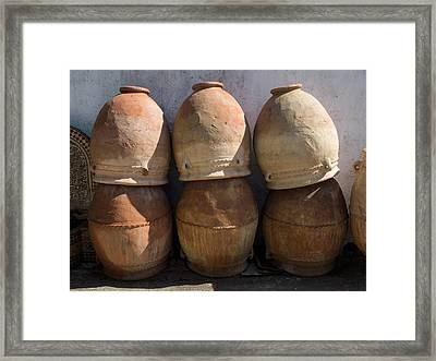 Pots For Sale At Pottery, Fes, Morocco Framed Print by Panoramic Images