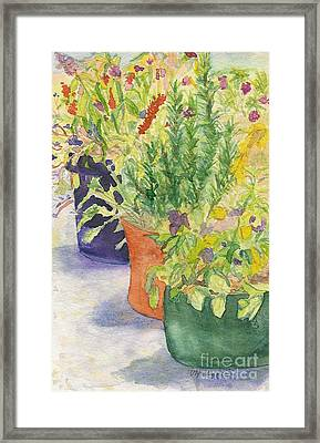 Framed Print featuring the painting Potted Beauties  by Vicki  Housel