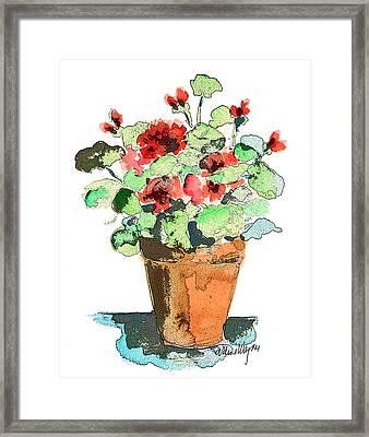 Potted Geraniums Framed Print by Arline Wagner