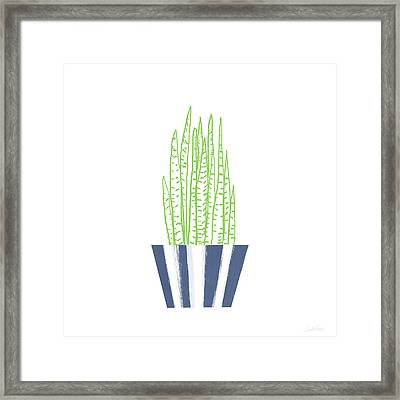 Framed Print featuring the mixed media Potted Succulent 3- Art By Linda Woods by Linda Woods